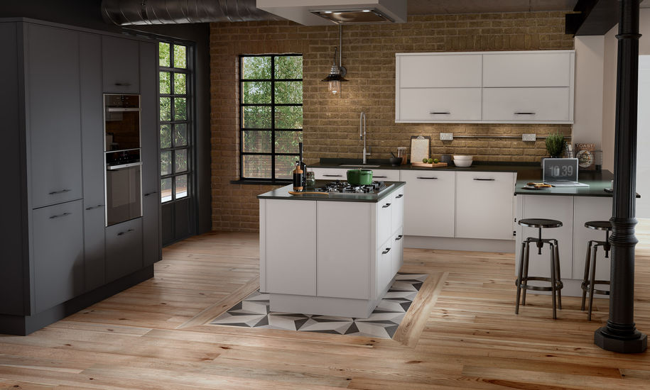 Parker Kitchen - Chalk, Graphite, Reclaimed Oak