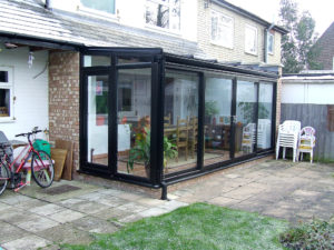 black lean-to conservatory