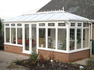 conservatory with a dwarf wall