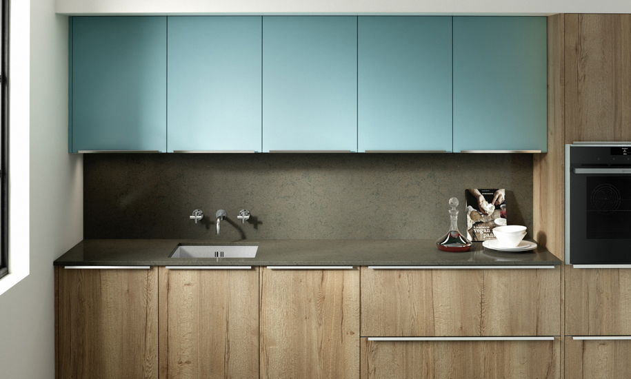 feature chalk blue kitchen design
