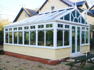 gable end conservatory with sunburst